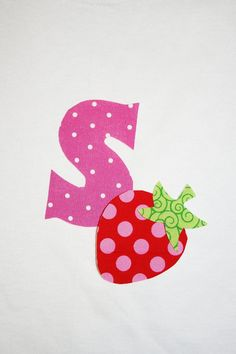DIY Letter with Strawberry Iron Applique Choose by JellyPopChick, $3.00
