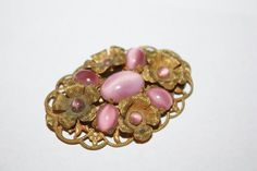 vintage moonstone jewelry | Vintage Pink Moonstone Brooch 1940s Jewelry by patwatty on Etsy, $11 ...