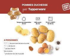 Pommes Duchesse par Tupperware Tupperware, Eggs, Cooking, Breakfast, Food, Apples, Food Recipes, Kitchen, Morning Coffee