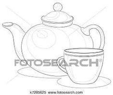 Resultado de imagem para desenhos preto e branco bule xícara