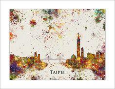 TAIPEI Skyline, Taipei City, TAIWAN, Taipei Print, City Silhouette, Painted Maps, Splatter Art, Map of Taipei, Map of Taiwan.