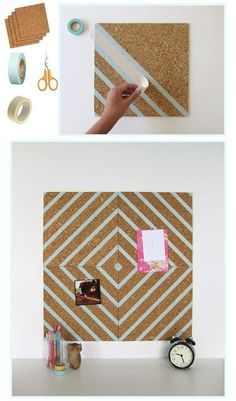 If you havent discovered washi tape yet, youve been missing out. Its colorful, it comes in a bunch of fun patterns, and its easily removable. Use it to decorate your wall, mirrors, windows, or this adorable pin board!