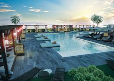 The pool of Brickell 10 in Miami City Scene, Real Estate Development, Pent House, South Florida, The Neighbourhood, Miami, Construction, Patio, Contemporary