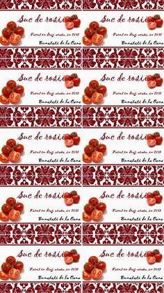 Etichete borcane - suc de rosii Jar Labels, Recipies, Food, Canning, Recipes, Eten, Meals, Cooking Recipes, Diet