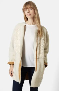 Topshop Faux Fur Patchwork Longline Jacket available at #Nordstrom