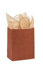 Medium Red Gingham Paper Shopper