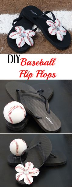Baseball Flower Flip Flops - Click to watch our video tutorial on how to make these baseball flowers!  Perfect for Baseball Season!