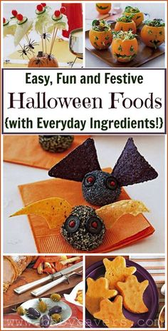 Easy Halloween party food ideas with everyday, simple ingredients. Some of these are SO cute!  {recipe DIY cake gifts family halloween food crafts tutorial desserts treat kitchen decor}