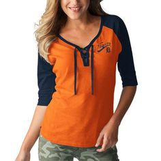 Women's Detroit Tigers Touch by Alyssa Milano Orange/Navy Perfect Game 3/4-Sleeve T-Shirt