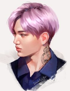 Cre: the owner/ as logo Kai Arts, Exo Anime, Exo Fan Art, Korean People, Beautiful Moon, Exo Kai, Kpop Fanart, Fine Men, K Idols