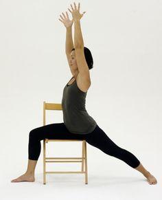 10 Yoga Poses You Can Do in a Chair: Chair Warrior I - Virabhadrasana I
