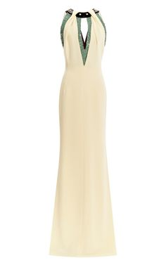 Shop Halter Top Gown With Sequined Embroidery At Neckline by Carolina Herrera for Preorder on Moda Operandi