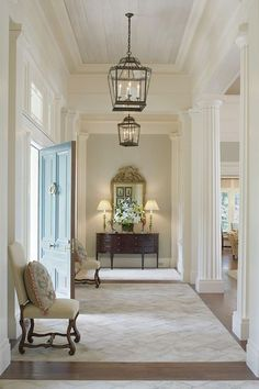 Entry hall. Love the center knob on front door too.