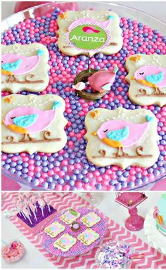 Cute bird cookies at a Baby Shower Party! See more party ideas at CatchMyParty.com!