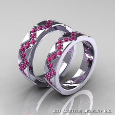 Classic+Armenian+14K+White+Gold+Pink+Sapphire+by+artmasters,+$1679.00