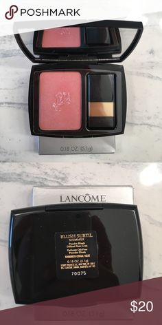 NEW Lancôme Blush New in box Lancôme Blush Subtil shimmer powder blush in shimmer coral heat. Full size .18 oz. looks like NARS Orgasm blush. Sephora Makeup Blush