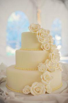 Classic White Wedding Cake With Sugar Flowers My Wedding Ideas