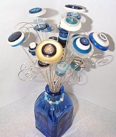 blue bouquet, I like the silver wire and the scrolls