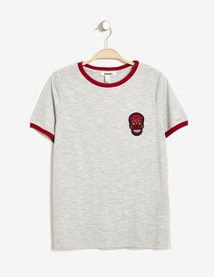 Tee-shirt rayé brodé noir, bordeaux et blanc femme • Jennyfer