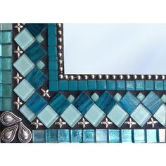 Mosaic Wall Mirror in Teal Aqua Turquoise With Silver Accents ($140) ❤ liked on Polyvore featuring home, home decor, mirrors, grey, home & living, home décor, rectangle mirror, beaded mirror, painted mirror and square wall mirror