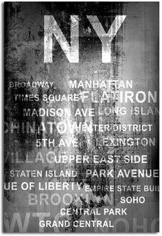 New York City Wall Art | shabby chic new york city inspired black and white canvas wall art ...