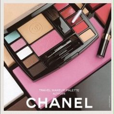 AUTHENTIC NEW CHANEL makeup KIT bag MADE IN FRANCE This AUTHENTIC, made in France, essential complete travel makeup kit palette for face, eyes & lips features the following for multi-effect  looks: 1 face powder  1 blush 1 concealer 5 eyeshadows 2 lip glosses 2 lipsticks a mini mascara It also comes with a CHANEL black velvet carry bag pouch & mini brushes including a small blush brush, lipstick/lip gloss brush & two double sided wands for the eye shadow. DON'T BUY CHINA COPIES! This kit was…