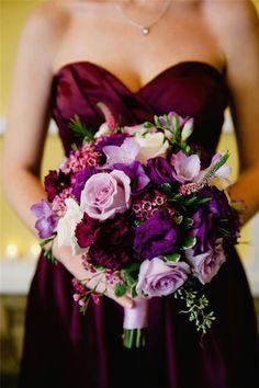 dark purple bridesmaid dresses and bridesmaid bouquet