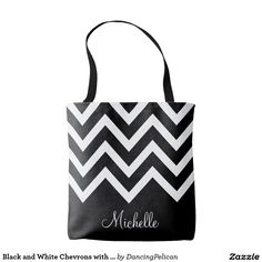 Black and White Chevrons with Monogram Tote Bag - Stylish and chic, this handy tote features a black and white chevron pattern with custom monogram that you can edit with your desired name, initials or other custom text. Sold at DancingPelican on Zazzle.