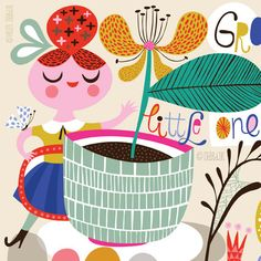 Grow Little One Grow...  limited edition giclee by helendardik, $25.00 ......... teacup plant :)