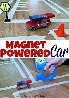 Make science fun and playful by making a magnet powered car! Make a road and see if you can push pull your car in the right direction without touching it by using the invisible power of magnetism. This STEM activity is perfect for kids of all ages and can Stem Science, Physical Science, Science Classroom, Science Fair, Science Lessons, Teaching Science, Science For Kids, Science Projects, Summer Science