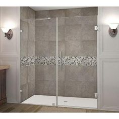 Aston, Nautis 72 in. x 72 in. Completely Frameless Hinged Shower Door in Chrome, SDR985-CH-72-10 at The Home Depot - Mobile