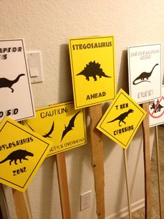 PDF: Set of 6 Dinosaur Crossing Signs - Dinosaur Themed Party Warning Caution Zone Paleo Caveman silhouette on Etsy, $10.00