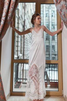 4a86c2e3 Vestido de noche de seda larga con encaje F38, lencería nupcial, lencería de  boda, lencería Boudoir, ropa interior de novia, regalo de ducha de novia