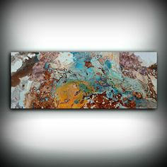 """Copper Painting Coastal 16"""" x 40"""", Acrylic Painting on Canvas, Abstract Painting, Contemporary Art, Large Wall Art, By L Dawning Scott"""