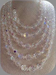 Aurora Borealis CORO Crystal Necklace Wedding or Bridal