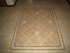 Floor Tile Design And Installation, Custom Floor Tile With Diagonal Pattern,  Borders, And Dots.