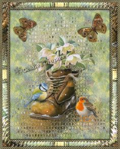 Beautiful flowers, birds and butterflies blank note card notecard