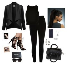 """""""You Found Me Dressed In Black"""" by hanakdudley ❤ liked on Polyvore featuring River Island, Givenchy, Chanel, Tory Burch, Pandora, Topshop, Georgini, women's clothing, women and female"""
