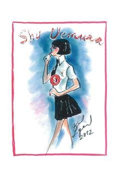 Ilustración de Karl Lagerfeld para Shu Uemura