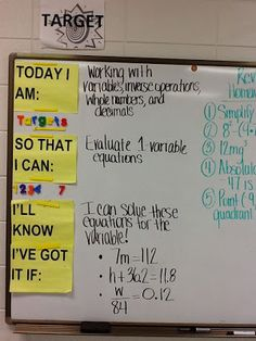 Great way to show learning targets 5th Grade Classroom, 8th Grade Math, School Classroom, Classroom Ideas, Sixth Grade, Classroom Agenda, Future Classroom, Teacher Tools, Math Teacher