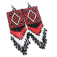 Black White Red Native Beadwork Medicine Man's Eye Beaded Earrings E20/13|BEADS CORNER LLC