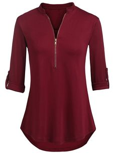 Women's Clothing, Tops & Tees, Blouses & Button-Down Shirts, Womens Notch-V Neck Long Sleeve Roll Up Sleeve Zipper Casual Blouses Tunic Tops - 2 Wine Red - CC1870GNKN0 #Tops #Tees #women #outfits #clothing #Blouses & Button-Down Shirts