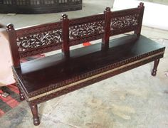 Sheesham wood carved bench ..... Antiquesindian.com