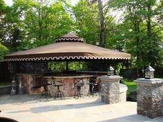 A Bar, Grille & Kitchen by the pool with color & Style Shades Of Grey, 50 Shades, Awning Shade, Gazebo, Pergola, Fabric Awning, Patio Awnings, Cool Deck, Shade Structure