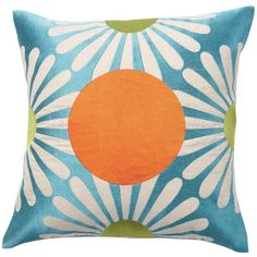 emma at home Sea Fan Dot Throw Pillow (165 AUD) ❤ liked on Polyvore featuring home, home decor, throw pillows, pillows, cushion, furniture, polka dot home decor, embroidered throw pillows, polka dot throw pillows and flower home decor