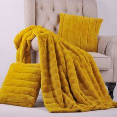 Lemon Curry Rabbit Faux Fur Throw Blanket and Pillow set combo.  The Rabbit Faux Fur combination set is a complete layout for any home. This set comes with one throw blankets with two exact matching pillows. #FauxFur #Rabbit #Throw #Blanket #Pillow