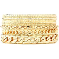 Charlotte Russe Silver Chain & Etched Bangles - 10 Pack by Charlotte... found on Polyvore featuring jewelry, bracelets, accessories, silver, chain bracelet, gold bangles, gold hinged bangle bracelet, hinged bangle bracelet and yellow gold bangle bracelet