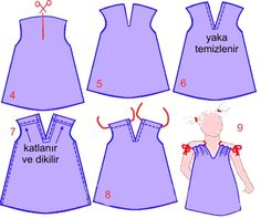 Dressmaking techniques for children Kids Clothes Patterns, Baby Dress Patterns, Kids Patterns, Baby Kids Clothes, Girl Doll Clothes, Clothing Patterns, Lingerie Couture, Sewing Lingerie, Sewing For Kids