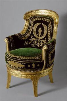 Arts décoratifs Premier Empire - Fauteuil du bureau de Napoléon 1er aux Tuileries (Malmaison)