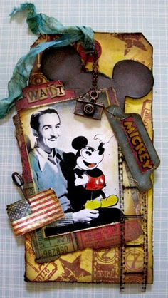 Vintage Disney - use any type of ephemera & distress it.